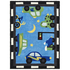 Curious Owl Blue Traffic Kid's Rug