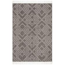 Thomas Grey & Natural White Hand Loomed Pure Wool Rug