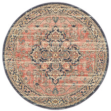 Brick Power-Loomed Transitional  Round Rug
