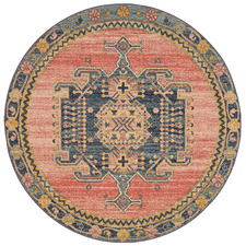 Red Power-Loomed Transitional  Round Rug