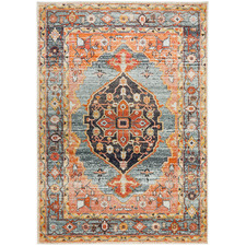 Rust & Blue Power-Loomed Transitional Rug