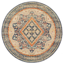 Rust & Beige Power-Loomed Transitional Round Rug