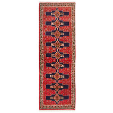 Red Vintage Hand-Knotted Wool Persian Senneh Runner