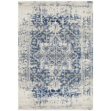 Bone, White & Navy Art Moderne Cezanne Rug