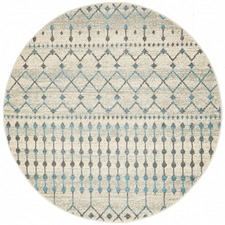 Round Bone White Moderne Salon Rug