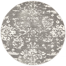Grey Vintage Look Power Loomed Round Rug