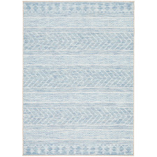 Blue & Natural Flat-Woven Rug