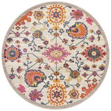 Multi-coloured Wildflower Vintage Look Round Rug
