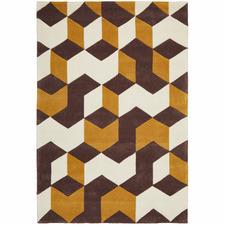 Cube Design Brown/White Rug