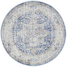 Ocean Blue Vintage Look Round Rug