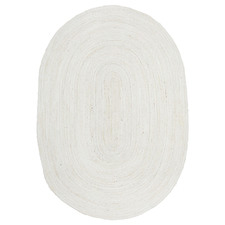 White Hand-Braided Jute Oval Rug