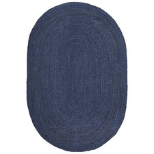 Navy Hand-Braided Jute Oval Rug