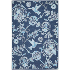 Navy Hummingbird Floral Outdoor Rug