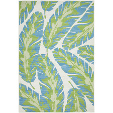 Green & Blue Tropical Leaf Outdoor Rug