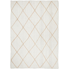 White & Natural Geometric Hand-Braided Jute Rug