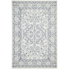 White & Navy Traditional Power-Loomed Outdoor Rug