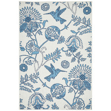 White & Blue Hummingbird Floral Outdoor Rug