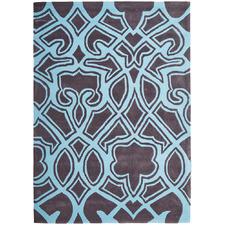 Gothic Tribal Design Smoke Grey and Blue Rug