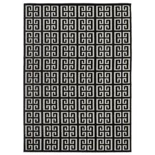 Black Art Deco Power-Loomed Textured Rug