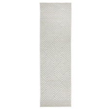 Off White Luxury Power-Loomed Textured Runner