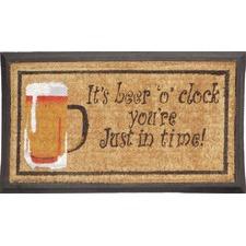 Rubber and Coir Beer O Clock Door Mat