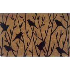 Tan Tree & Birds Hand-Woven Coir Doormat