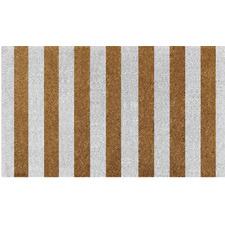 White & Brown Striped Doormat