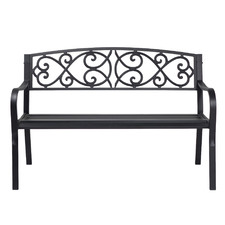 2 Seater Black Hartman Metal Outdoor Bench