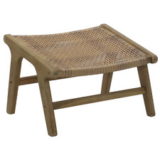 Natural Flores Wicker Outdoor Foot Stool