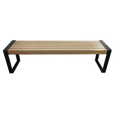2 Seater Natural Stockholm Wood & Metal Outdoor Bench