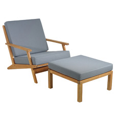 Madrid Acacia Wood Outdoor Lounge Chair & Footstool Set