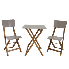 2 Seater Origami Acacia Wood Outdoor Bistro Set