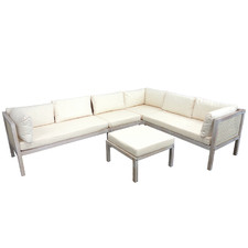 6 Seater White Wash Bohemian Outdoor Sectional Lounge Set