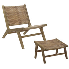 Natural Flores Wicker Outdoor Lounge Chair with Foot Stool