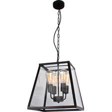 Creswick Vintage Glass Pane 4 Light Square Pendant