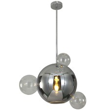 Grey Planet Chrome & Glass Pendant Light