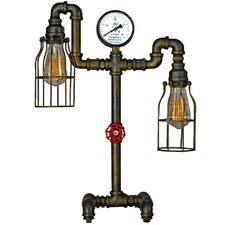Pipe 2 Light Metal Table Lamp with Gauge