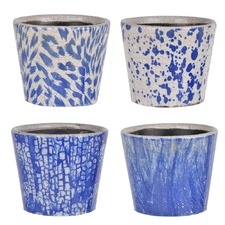 Washed Blue Terracotta Planters (Set of 4)