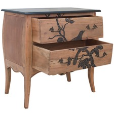 Bird Print Mahogany Dresser