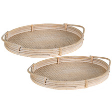 2 Piece Natural Oval Rattan Tray Set
