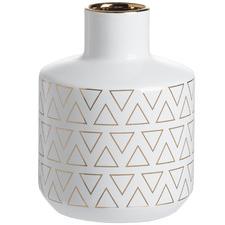 White & Gold Geometric Triangle Geo Vase