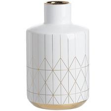 White & Gold Horizontal Triangle Geo Vase