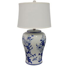 Blue & White Jonquil Ceramic Table Lamp