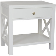 White Catalina Bedside Table with Drawer