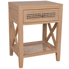 Natural Palm Bayur Wood & Rattan Bedside Table