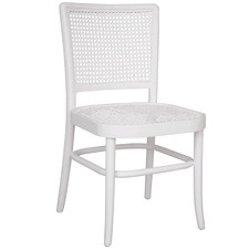 White Palm Rattan & Mahogany Wood Dining Chair