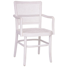 White Rattan & Mahogany Dining Chair with Arms