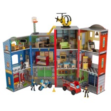 Everyday Heroes Police and Fire Station Wooden Play Set