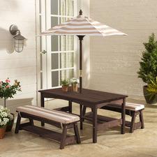 Kids' Cedar Wood Outdoor Table & Bench Set with Umbrella