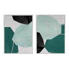 2 Piece Teal Hex Canvas Wall Art Set